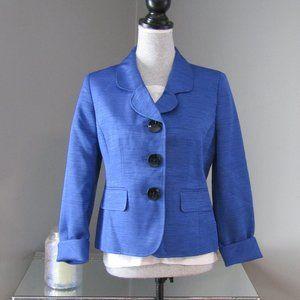 Kasper Blue Blazer 3/4 Flip Cuff Sleeves Size 6P